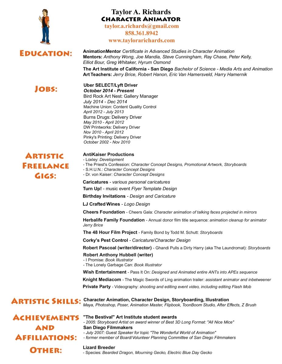 resume taylor s portfolio and animation reel