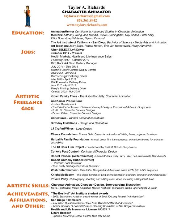 2018-09-16 Animator Resume